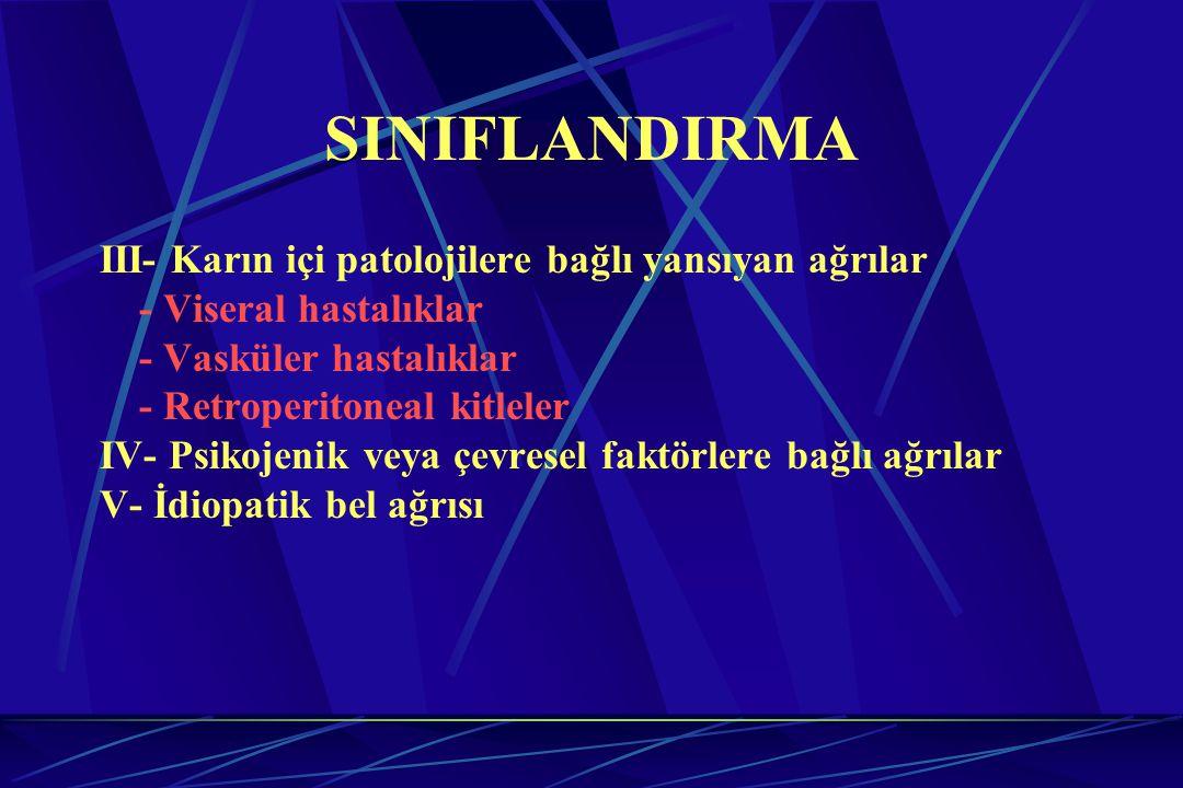 SINIFLANDIRMA III- Karın içi patolojilere bağlı yansıyan ağrılar
