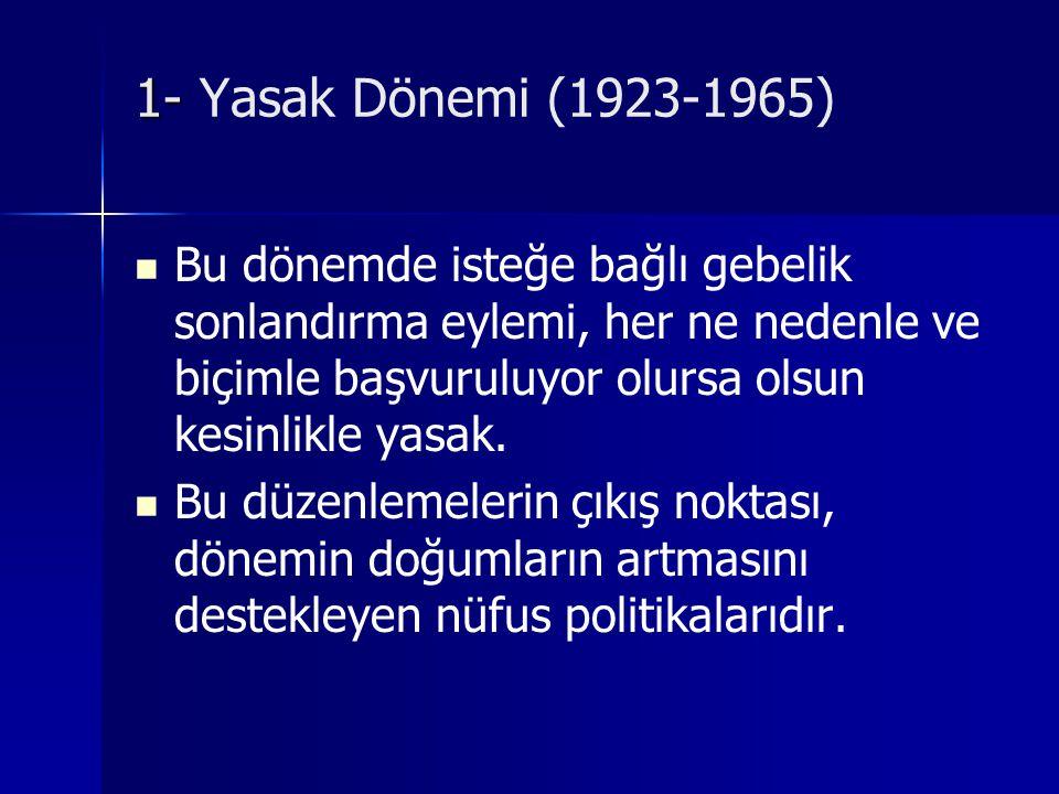 1- Yasak Dönemi (1923-1965) Bu dönemde isteğe bağlı gebelik sonlandırma eylemi, her ne nedenle ve biçimle başvuruluyor olursa olsun kesinlikle yasak.