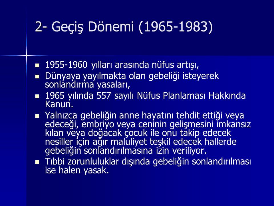 2- Geçiş Dönemi (1965-1983) 1955-1960 yılları arasında nüfus artışı,