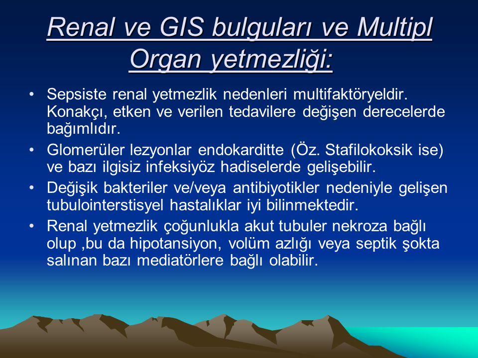Renal ve GIS bulguları ve Multipl Organ yetmezliği: