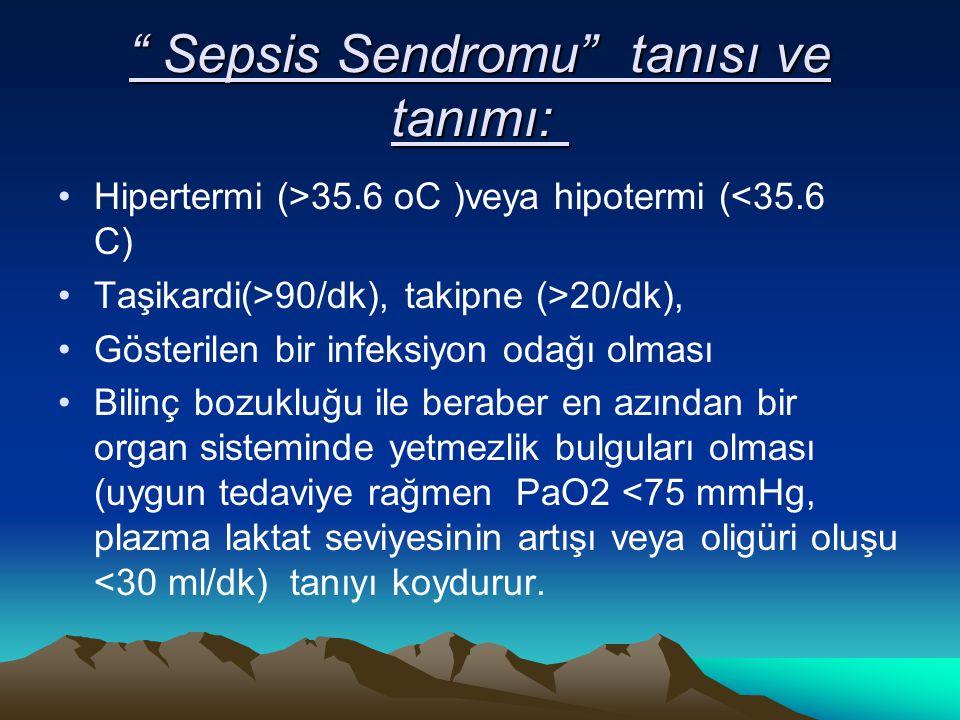 Sepsis Sendromu tanısı ve tanımı: