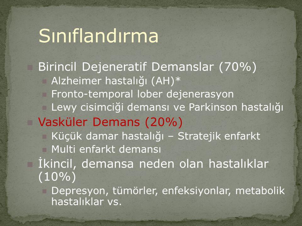 Sınıflandırma Birincil Dejeneratif Demanslar (70%)