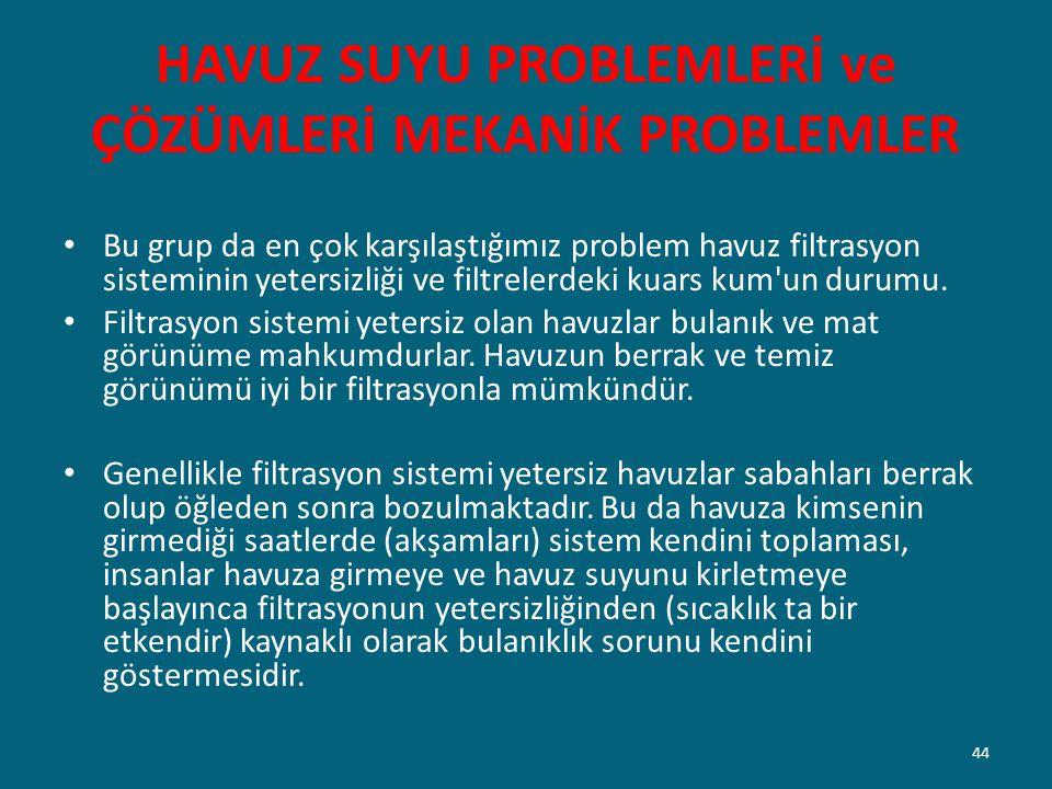 HAVUZ SUYU PROBLEMLERİ ve ÇÖZÜMLERİ MEKANİK PROBLEMLER