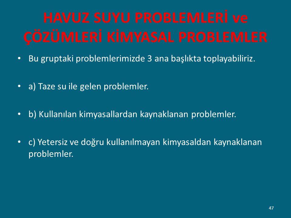 HAVUZ SUYU PROBLEMLERİ ve ÇÖZÜMLERİ KİMYASAL PROBLEMLER