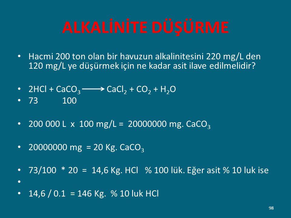 ALKALİNİTE DÜŞÜRME Hacmi 200 ton olan bir havuzun alkalinitesini 220 mg/L den 120 mg/L ye düşürmek için ne kadar asit ilave edilmelidir