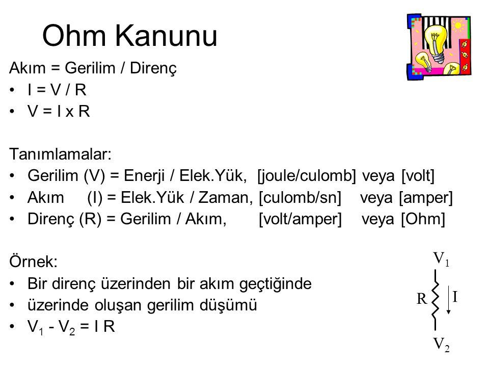Ohm Kanunu Akım = Gerilim / Direnç I = V / R V = I x R Tanımlamalar: