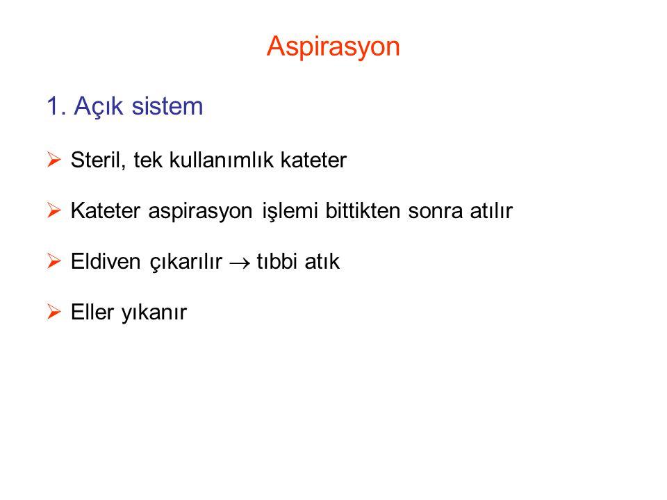 Aspirasyon 1. Açık sistem Steril, tek kullanımlık kateter