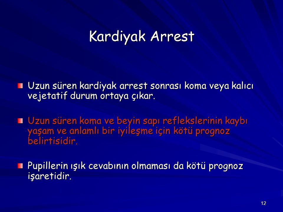 Kardiyak Arrest Uzun süren kardiyak arrest sonrası koma veya kalıcı vejetatif durum ortaya çıkar.