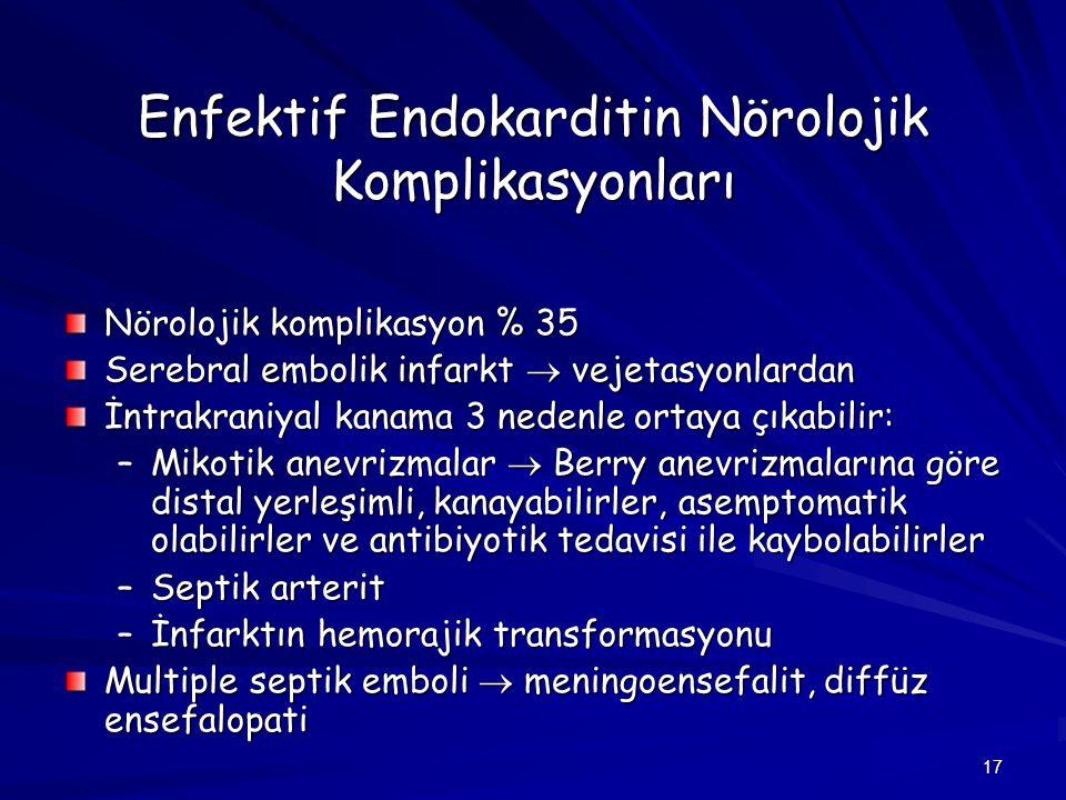 Enfektif Endokarditin Nörolojik Komplikasyonları