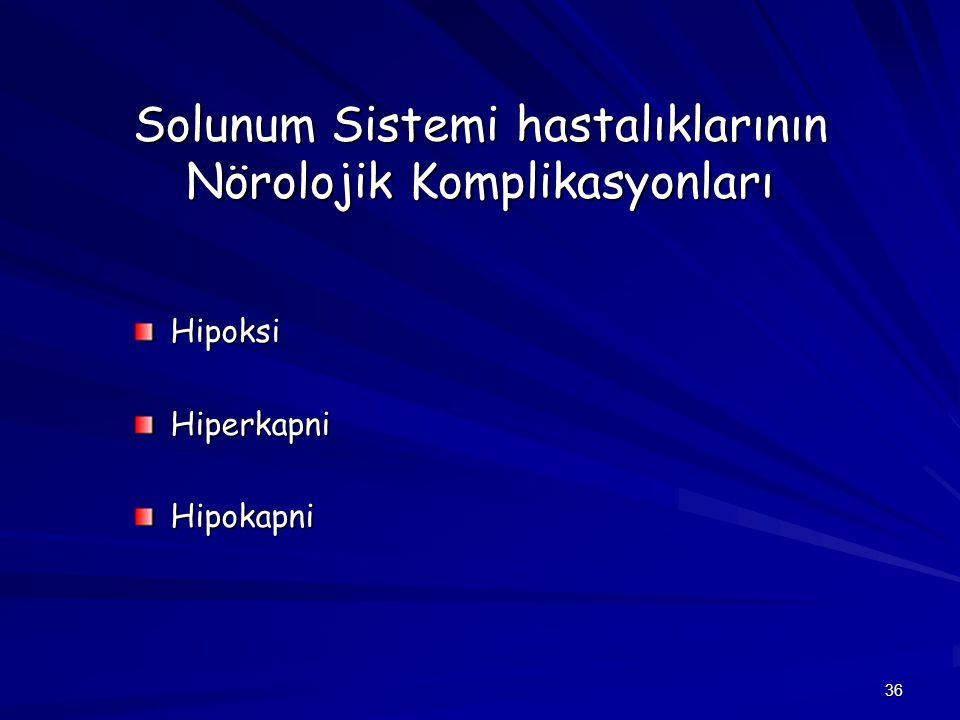 Solunum Sistemi hastalıklarının Nörolojik Komplikasyonları