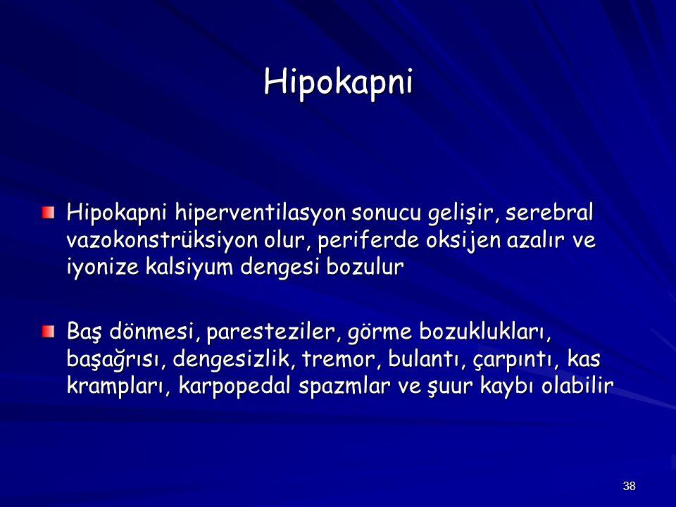Hipokapni Hipokapni hiperventilasyon sonucu gelişir, serebral vazokonstrüksiyon olur, periferde oksijen azalır ve iyonize kalsiyum dengesi bozulur.