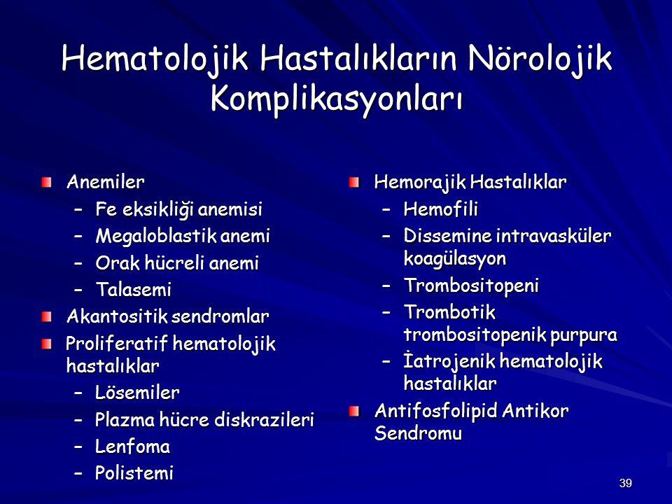Hematolojik Hastalıkların Nörolojik Komplikasyonları