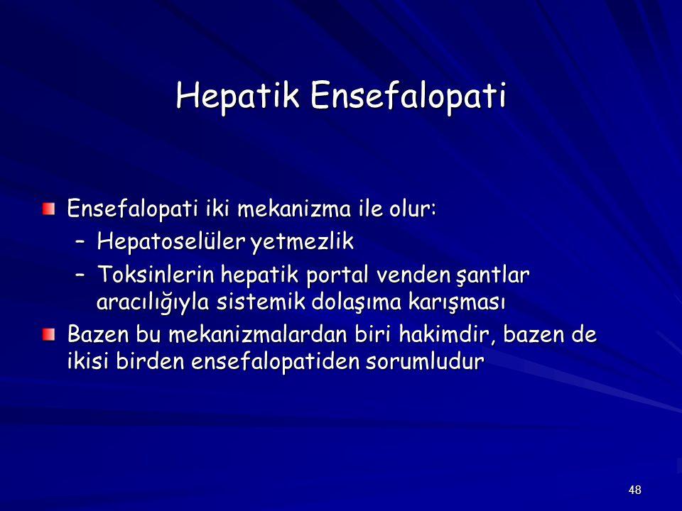 Hepatik Ensefalopati Ensefalopati iki mekanizma ile olur: