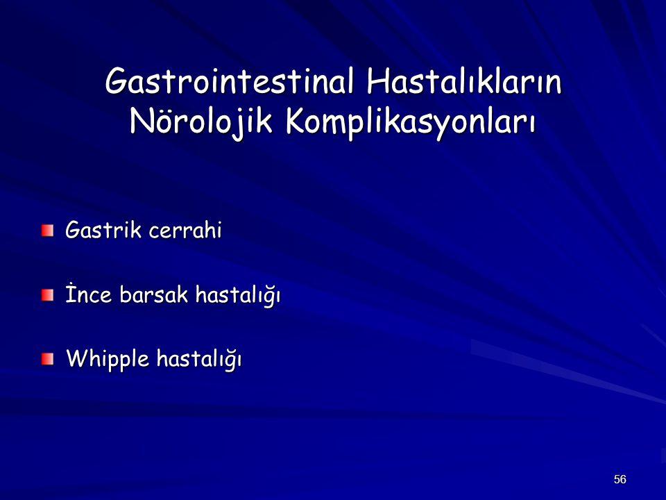 Gastrointestinal Hastalıkların Nörolojik Komplikasyonları