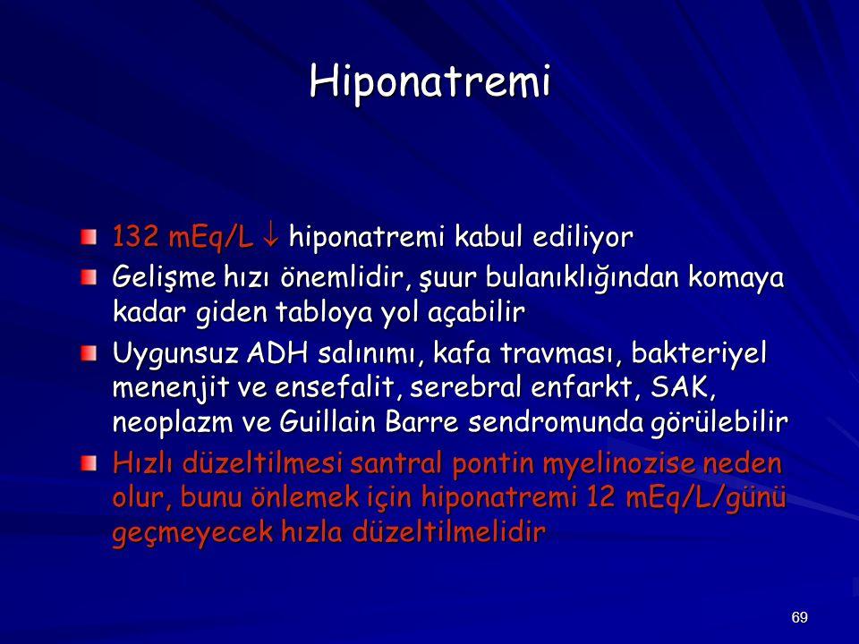 Hiponatremi 132 mEq/L  hiponatremi kabul ediliyor