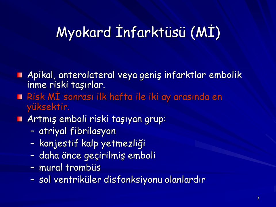 Myokard İnfarktüsü (Mİ)