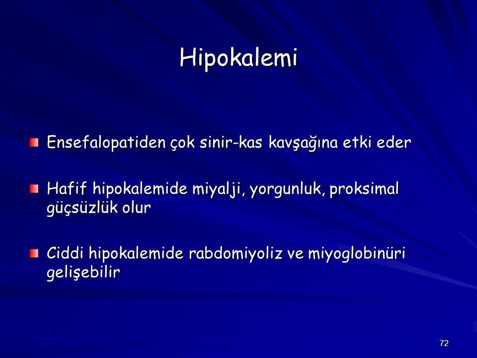 Hipokalemi Ensefalopatiden çok sinir-kas kavşağına etki eder