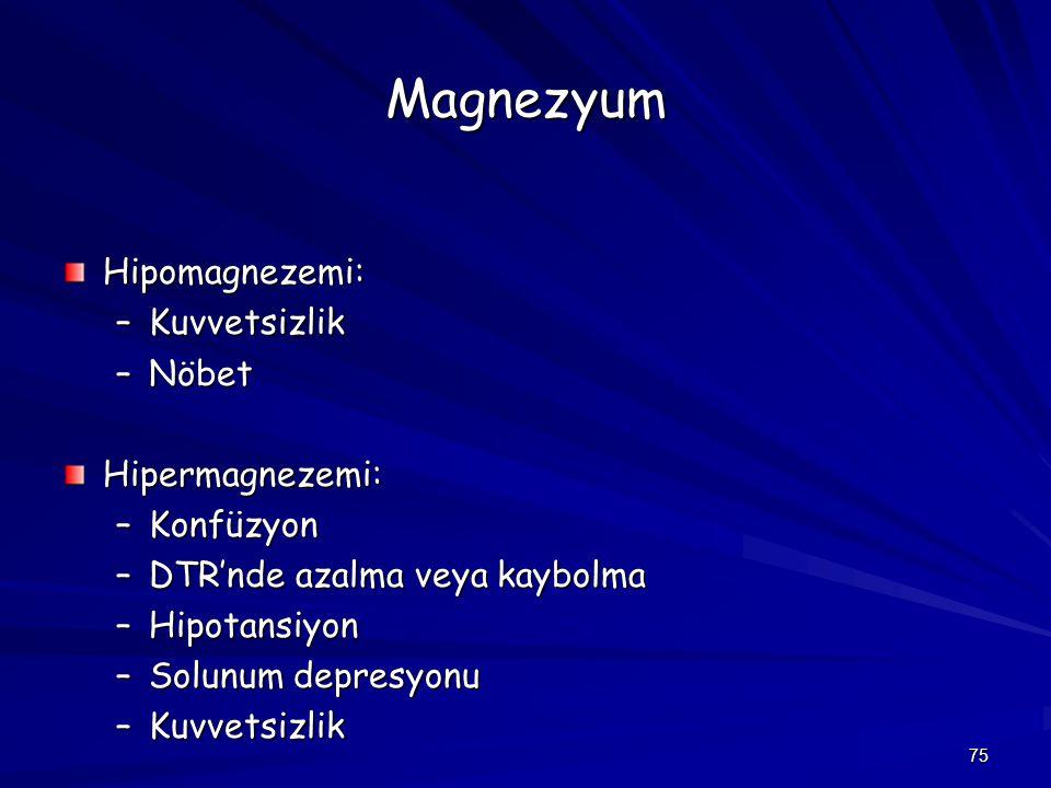 Magnezyum Hipomagnezemi: Kuvvetsizlik Nöbet Hipermagnezemi: Konfüzyon
