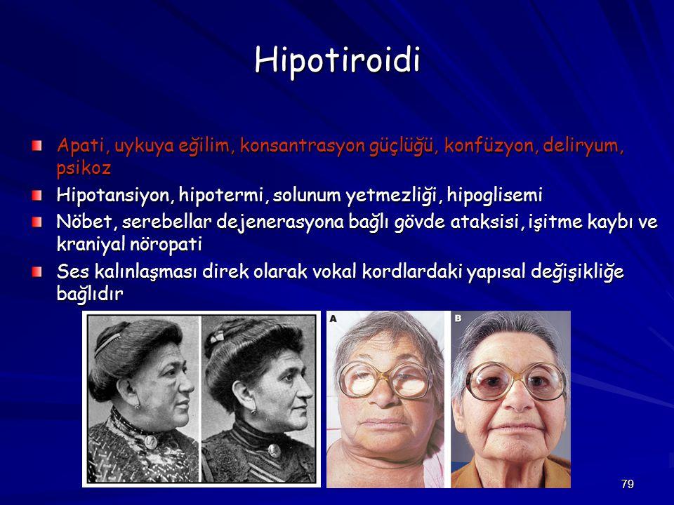 Hipotiroidi Apati, uykuya eğilim, konsantrasyon güçlüğü, konfüzyon, deliryum, psikoz. Hipotansiyon, hipotermi, solunum yetmezliği, hipoglisemi.