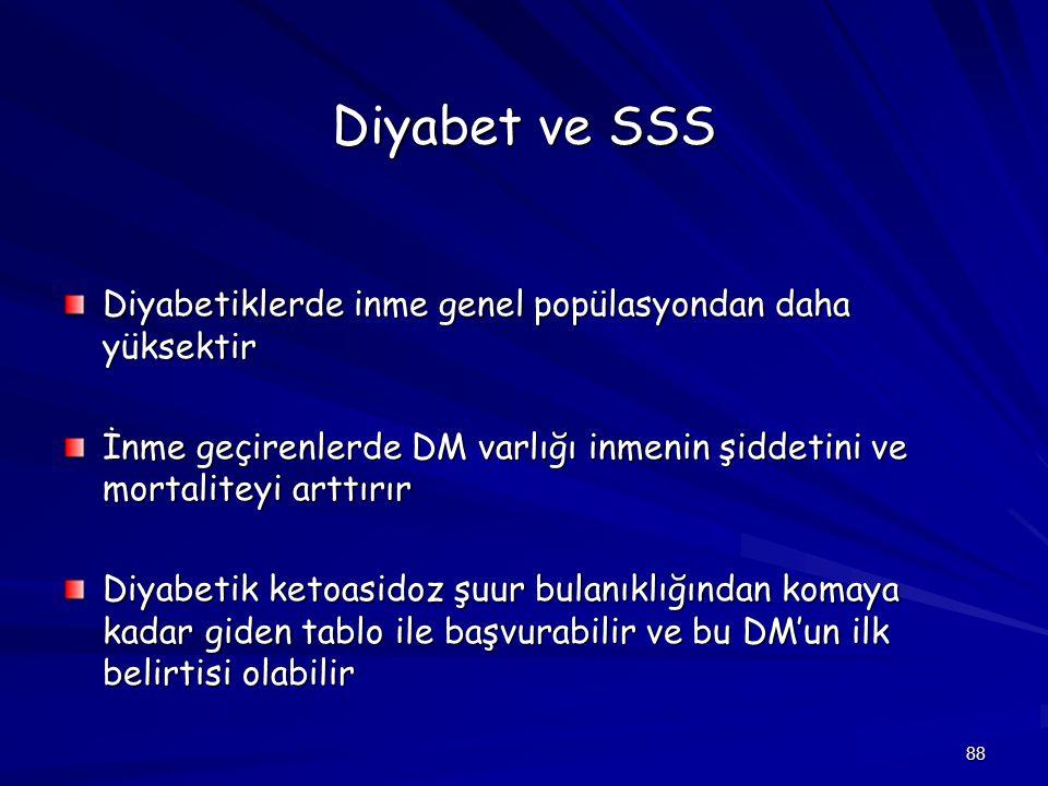 Diyabet ve SSS Diyabetiklerde inme genel popülasyondan daha yüksektir