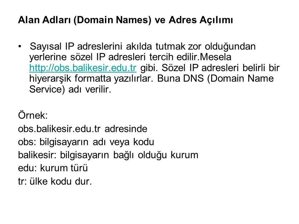 Alan Adları (Domain Names) ve Adres Açılımı