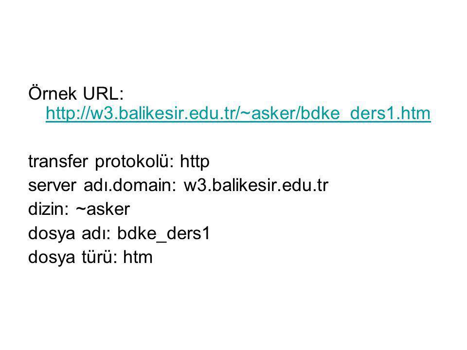 Örnek URL: http://w3.balikesir.edu.tr/~asker/bdke_ders1.htm