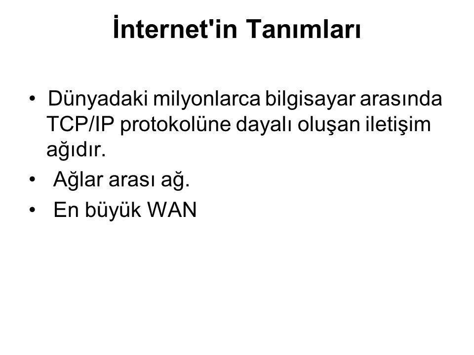 İnternet in Tanımları • Dünyadaki milyonlarca bilgisayar arasında TCP/IP protokolüne dayalı oluşan iletişim ağıdır.