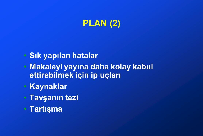 PLAN (2) Sık yapılan hatalar