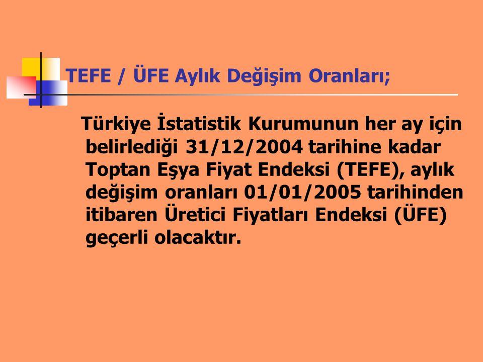 TEFE / ÜFE Aylık Değişim Oranları;