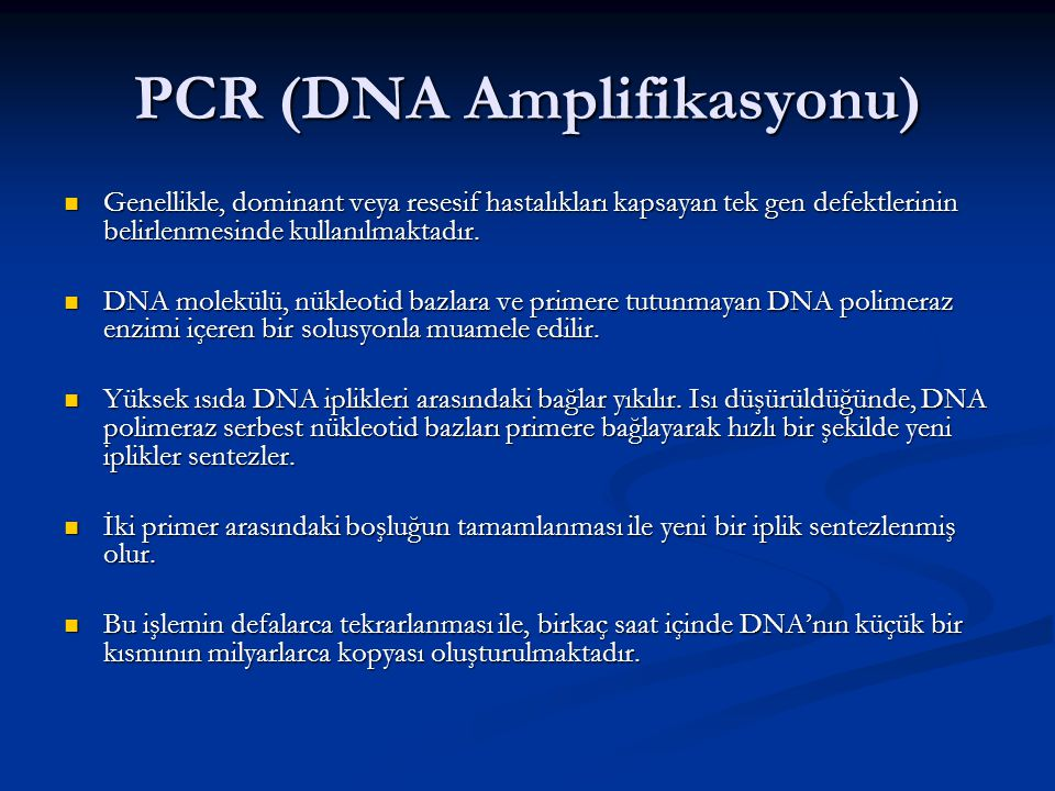 PCR (DNA Amplifikasyonu)