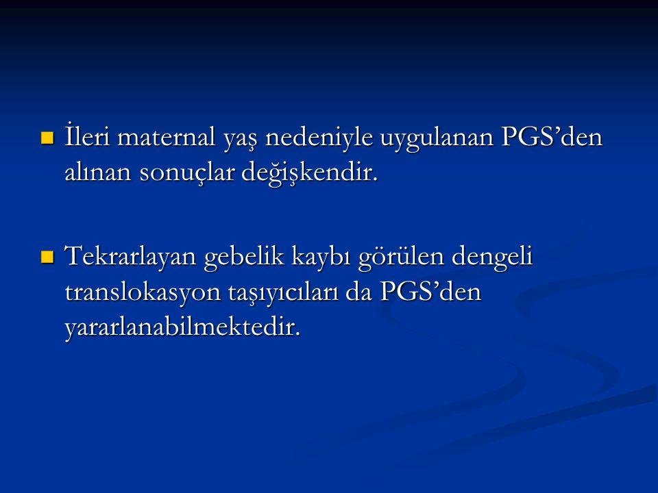 İleri maternal yaş nedeniyle uygulanan PGS'den alınan sonuçlar değişkendir.