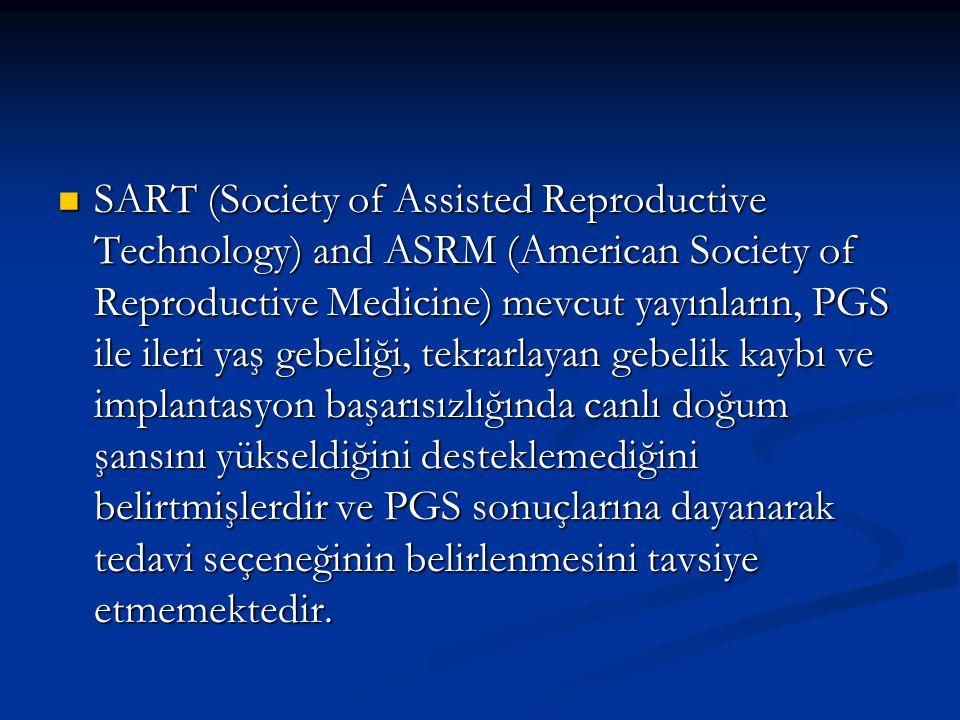 SART (Society of Assisted Reproductive Technology) and ASRM (American Society of Reproductive Medicine) mevcut yayınların, PGS ile ileri yaş gebeliği, tekrarlayan gebelik kaybı ve implantasyon başarısızlığında canlı doğum şansını yükseldiğini desteklemediğini belirtmişlerdir ve PGS sonuçlarına dayanarak tedavi seçeneğinin belirlenmesini tavsiye etmemektedir.