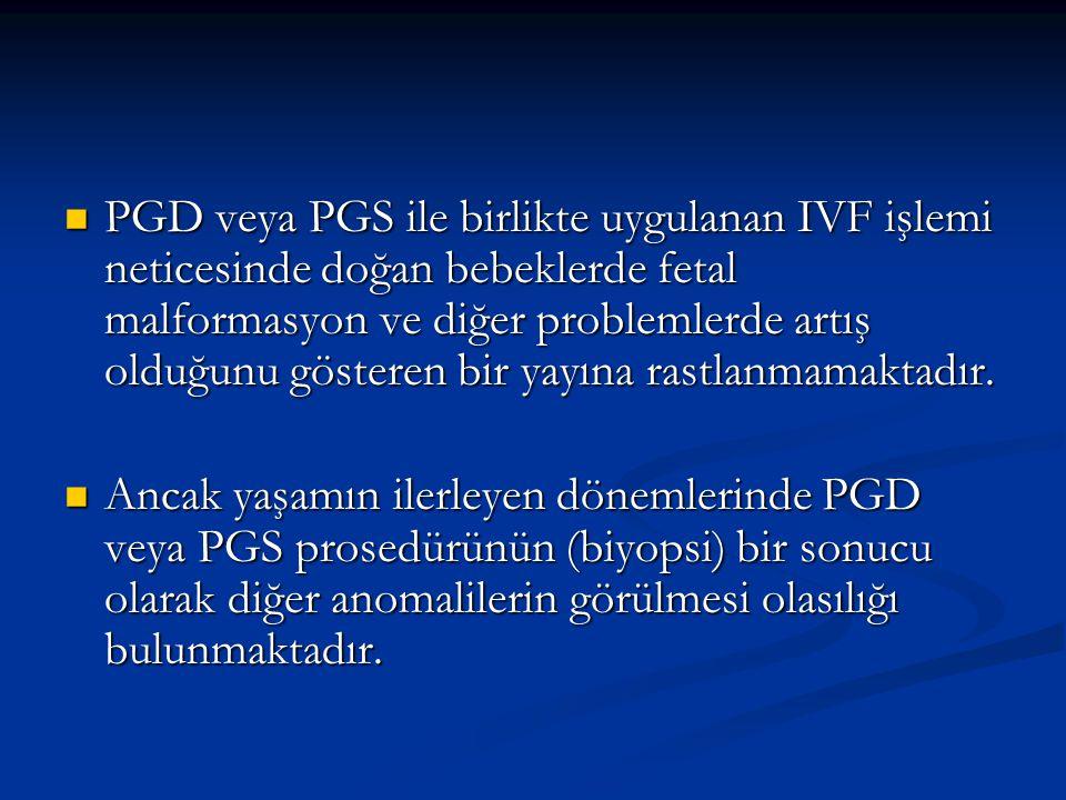 PGD veya PGS ile birlikte uygulanan IVF işlemi neticesinde doğan bebeklerde fetal malformasyon ve diğer problemlerde artış olduğunu gösteren bir yayına rastlanmamaktadır.