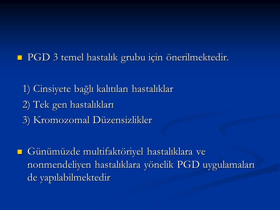 PGD 3 temel hastalık grubu için önerilmektedir.