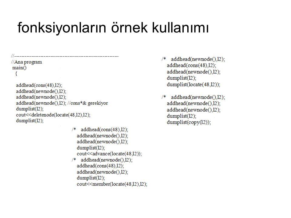 fonksiyonların örnek kullanımı