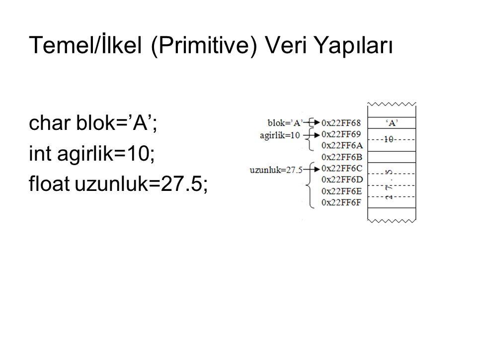 Temel/İlkel (Primitive) Veri Yapıları