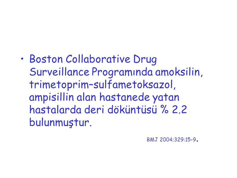 Boston Collaborative Drug Surveillance Programında amoksilin, trimetoprim–sulfametoksazol, ampisillin alan hastanede yatan hastalarda deri döküntüsü % 2.2 bulunmuştur.