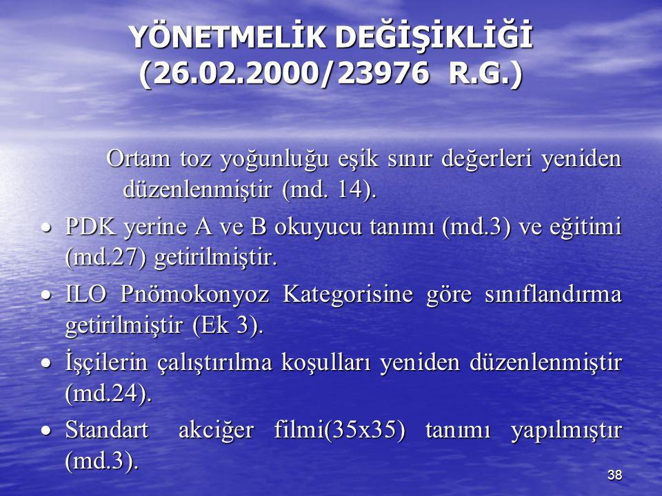 YÖNETMELİK DEĞİŞİKLİĞİ (26.02.2000/23976 R.G.)