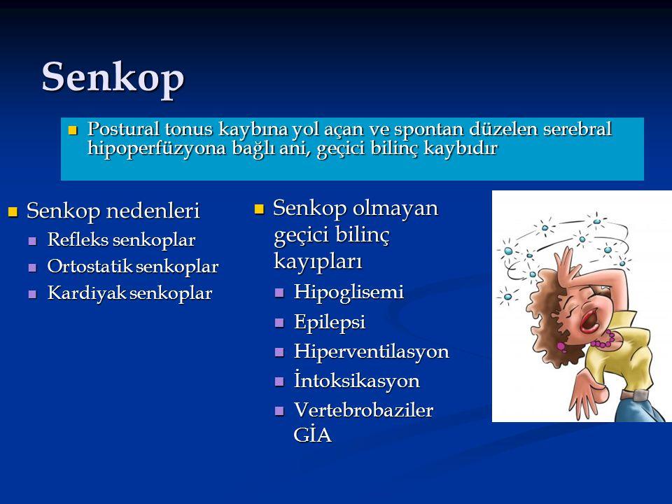 Senkop Senkop olmayan geçici bilinç kayıpları Senkop nedenleri