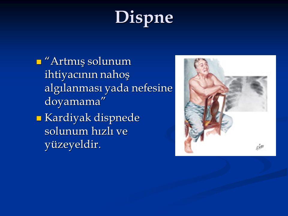 Dispne Artmış solunum ihtiyacının nahoş algılanması yada nefesine doyamama Kardiyak dispnede solunum hızlı ve yüzeyeldir.