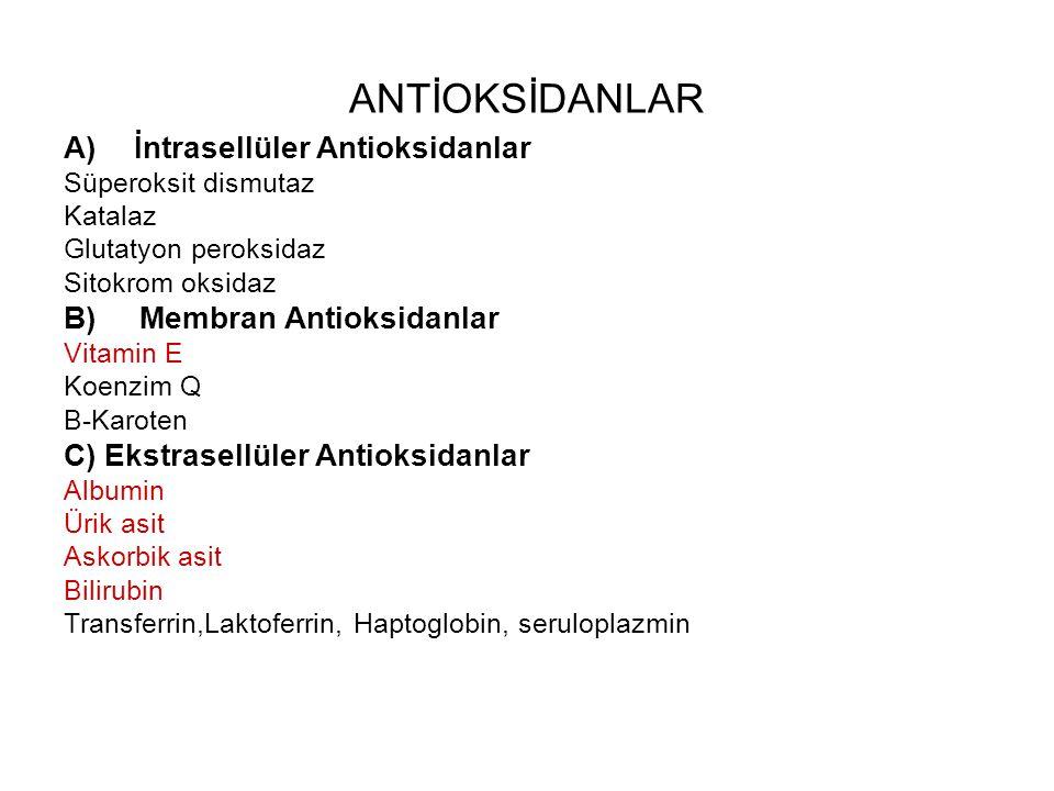 ANTİOKSİDANLAR İntrasellüler Antioksidanlar B) Membran Antioksidanlar