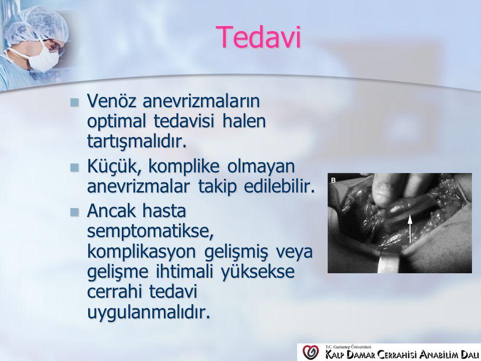 Tedavi Venöz anevrizmaların optimal tedavisi halen tartışmalıdır.