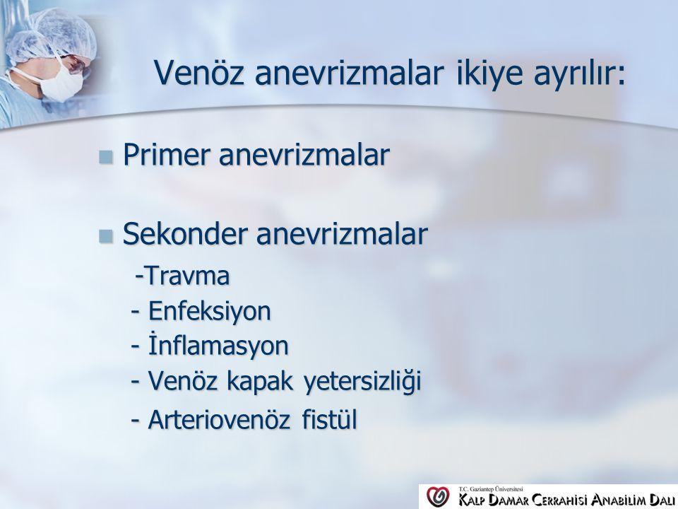Venöz anevrizmalar ikiye ayrılır: Primer anevrizmalar