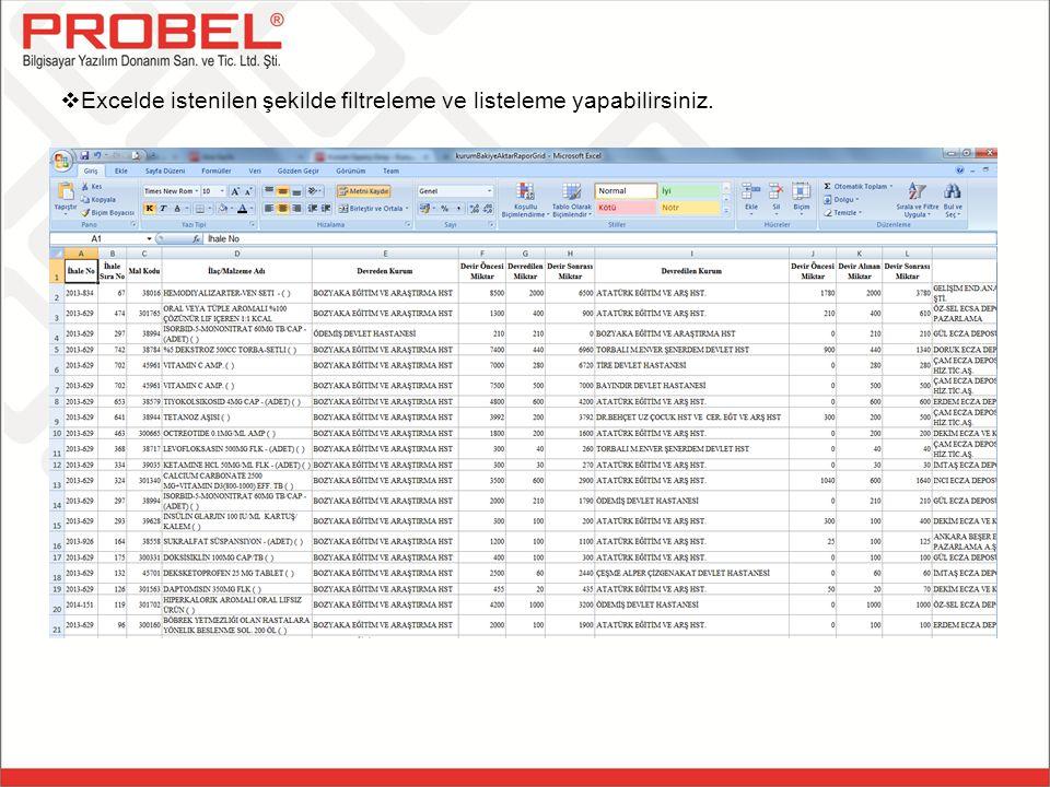 Excelde istenilen şekilde filtreleme ve listeleme yapabilirsiniz.