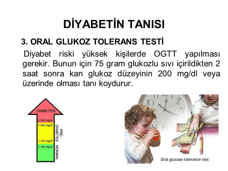 DİYABETİN TANISI 3. ORAL GLUKOZ TOLERANS TESTİ