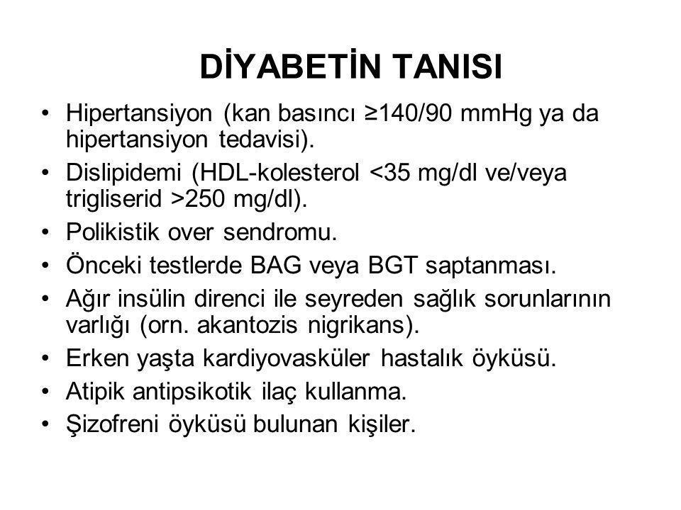 DİYABETİN TANISI Hipertansiyon (kan basıncı ≥140/90 mmHg ya da hipertansiyon tedavisi).