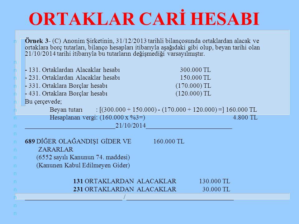 ORTAKLAR CARİ HESABI