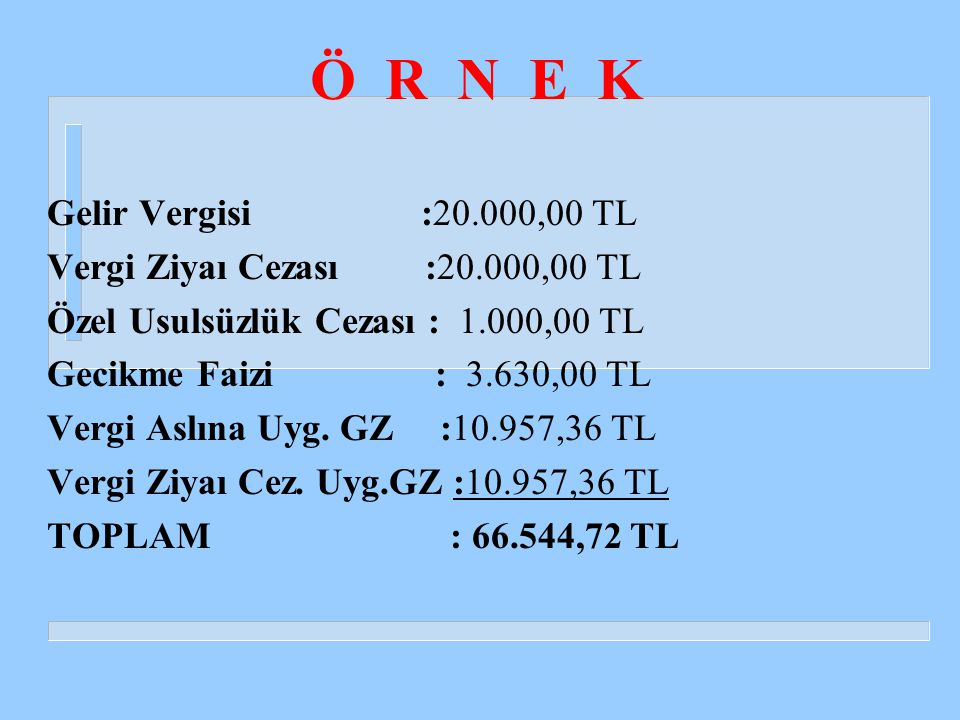 Ö R N E K Gelir Vergisi :20.000,00 TL Vergi Ziyaı Cezası :20.000,00 TL