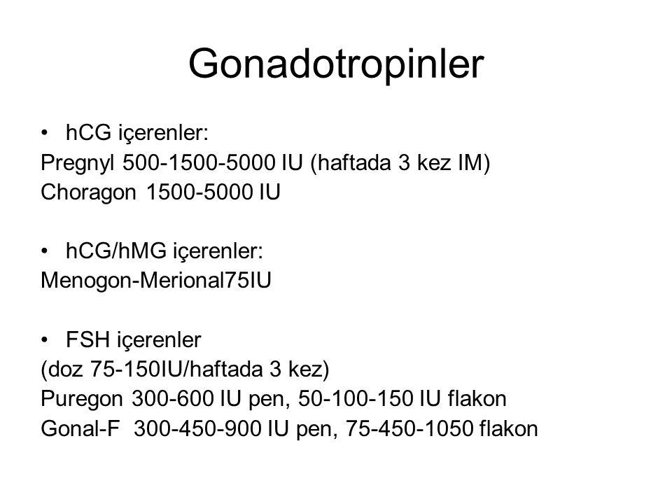 Gonadotropinler hCG içerenler: