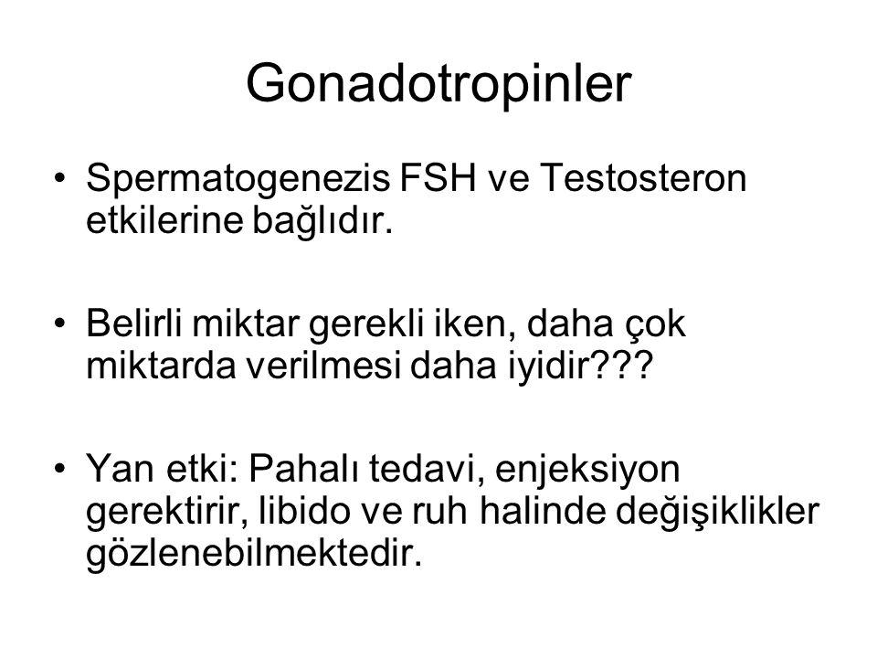 Gonadotropinler Spermatogenezis FSH ve Testosteron etkilerine bağlıdır. Belirli miktar gerekli iken, daha çok miktarda verilmesi daha iyidir